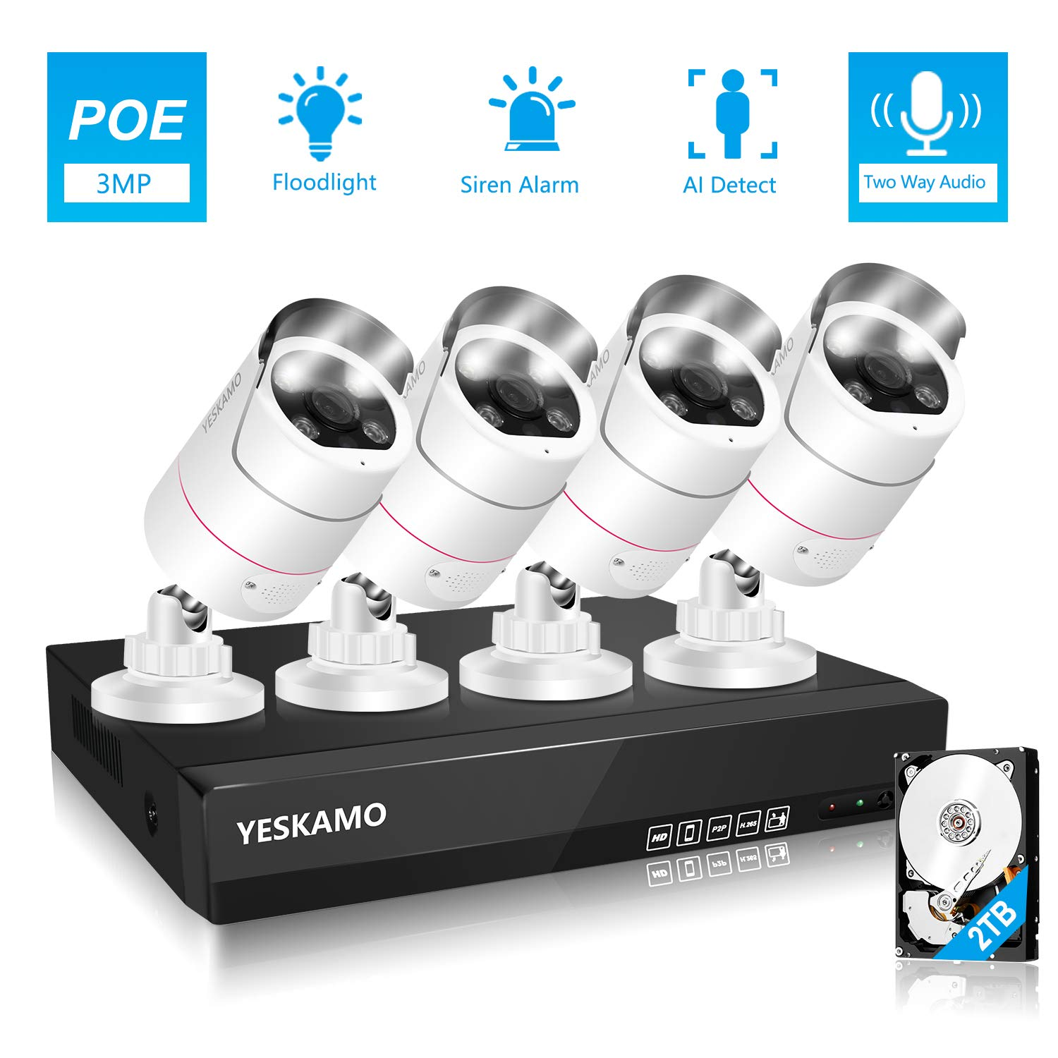 YESKAMO PoE Outdoor Home CCTV Camera System with Floodlight & 2 Way Audio 5K 8ch NVR 4pcs 3MP Spotlight Security IP Cameras with 2TB Hard Drive
