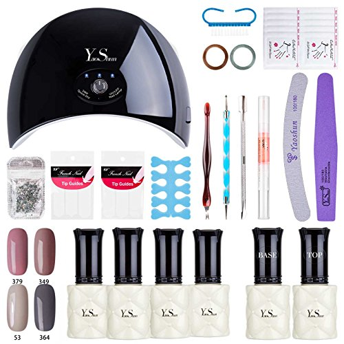 Gel Nail Polish Starter Kit - Yao Shun Neutral Colour Nail Gel Polish With 24W LED Nail Lamp Base Top Coat Set And Manicure Tools Nail Art Home Use Kit