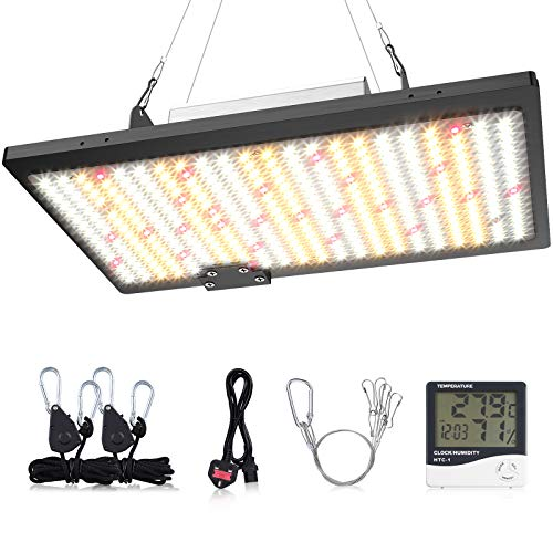 WAKYME 1000W LED Grow Light Full Spectrum LED High PPFD Dimmable for Hydroponic Indoor Plants Veg and Flower with3x3 ft Growing Lamp with Mean Well Driver and Thermometer Hygrometer